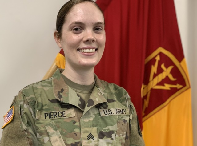 JOINT BASE LEWIS-MCCHORD., – Army Sgt. Nicole Pierce, a behavioral health noncommissioned officer with the 17th Field Artillery Brigade, founder of the Army Mom Life Facebook group, and the one who originally reached out to Sergeant Major of the Army Michael Grinston via Twitter about pregnancy policy updates shares her story Feb. 19 at the Brigade Headquarters. (US Army photo by Sgt. Casey Hustin, 17th Field Artillery Brigade)