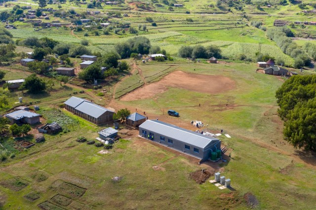 An aerial photo of a school renovation conducted by the U.S. Army Corps of Engineers in Lesotho, Jan. 29, 2019. The project is being executed through the Department of Defense's AFRICOM humanitarian assistance program to improve future prospects for the children of Lesotho. (Courtesy photo)