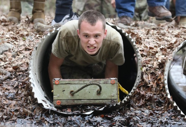 A cadet from Sarasota High School competes in The Gauntlet during the All-Service JROTC Raider Nationals Feb. 26 at the Gerald Lawhorn Scouting Base in Molena, Georgia. The All-Service competition allowed cadets from across the country to compete against teams from other services in various physical challenges. (Photo by Michael Maddox, Cadet Command Public Affairs)