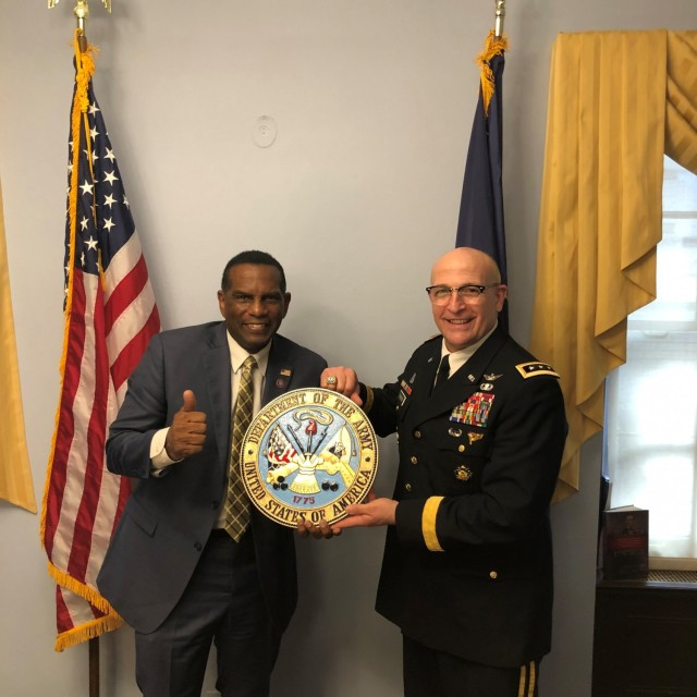 LTG L. Neil Thurgood visited Capitol Hill on Feb. 26, 2021 to deliver Army Seals to two new Members of the Utah congressional delegation, including REP Burgess Owens (UT-04).