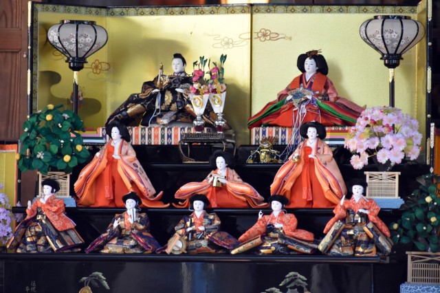 """Hinamatsuri"" dolls sit on display next to the Zama Shrine during the shrine's fifth annual Girls' Day festival, Zama, Japan, March 3."