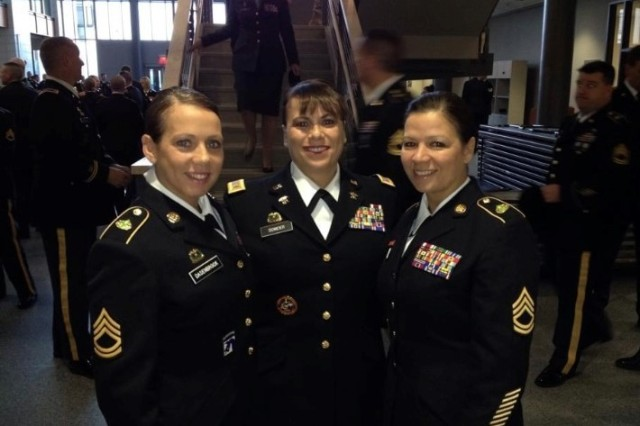 From left, then-Staff Sgt. Mellessa Dasenbrock, then-Chief Warrant Officer 4 Teresa Domeier and then-Sgt. 1st Class Bonnie Frazier pose for a photograph. The sisters all served in the Nebraska National Guard. Domeier was nominated as the Army National Guard's first female command chief warrant officer in June 2018.