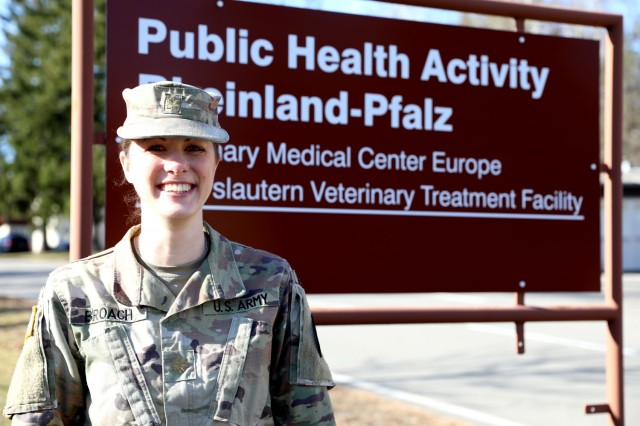 Maj. Desireé Broach is the director of Veterinary Medical Center Europe on Pulaski Barracks in Kaiserslautern, Germany, but also the only board-certified veterinary behaviorist in the Army.