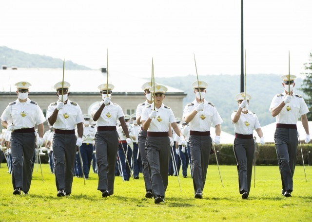 Cadet Reilly McGinnis, center, class of 2021 first captain, leads the Corps of Cadets during the pass in review portion of the Acceptance Day Parade Aug. 15, 2021.