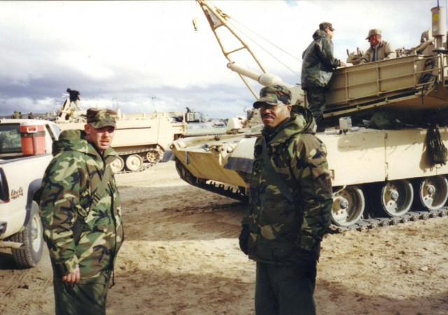 First Sgt. Charles King conducts training at the National Training Center, on Fort Irwin, Calif. King was killed after an improvised explosive device detonated under his Humvee while on a convoy outside of Baghdad on Oct. 14, 2006.