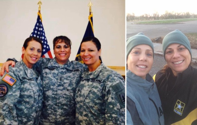 Left photo, the Hunt sisters Mellessa, Teresa and Bonnie. Right, Mellessa and Teresa share a happy moment before a morning run. Teresa, now the command chief warrant officer of the Army National Guard, helped Mellessa recover from colon cancer in 2008.