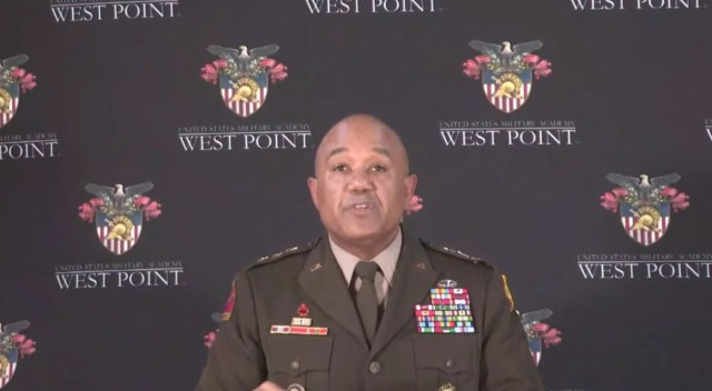 Lt. Gen. Darryl A. Williams, the U.S. Military Academy superintendent, speaks to lawmakers March 2, 2021, during a virtual hearing on the state of military academies.