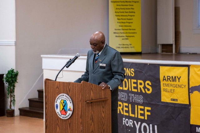 Lionel Grant, Fort Benning Army Emergency Relief officer, talks about the AER Campaign and how the program, which is celebrating its anniversary 79th year, is about Soldiers helping Soldiers.