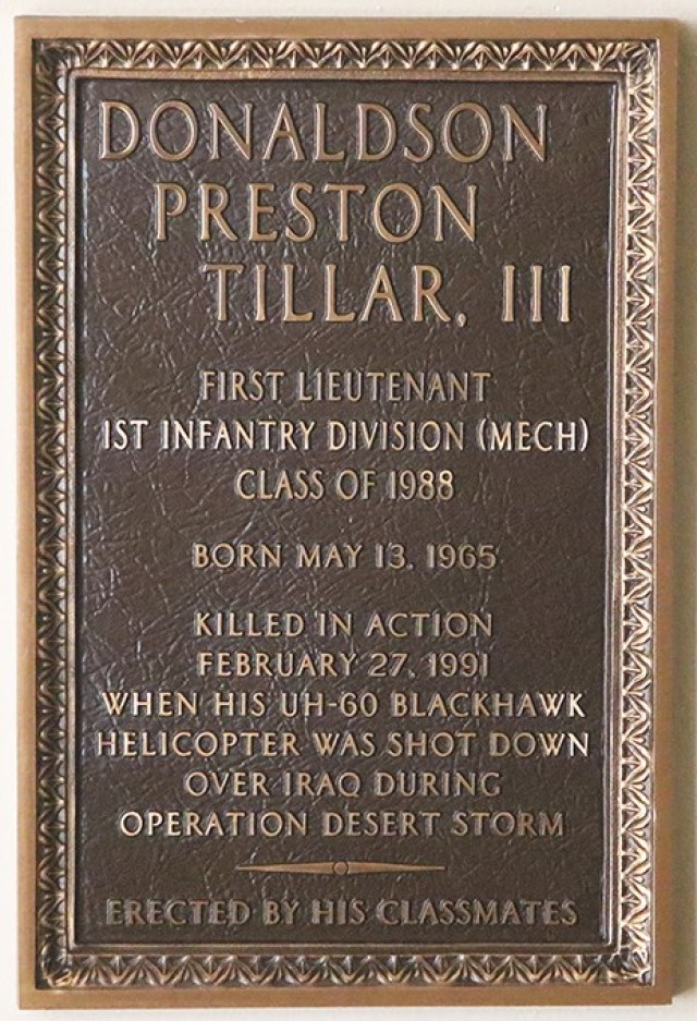 Feb. 27 marked the 30th anniversary of the day that Tillar's UH-60 Black Hawk was shot down over Iraq, which was the last day of the ground war, where he and his crew died. (Left) A plaque in Cullum Hall honoring Tillar.