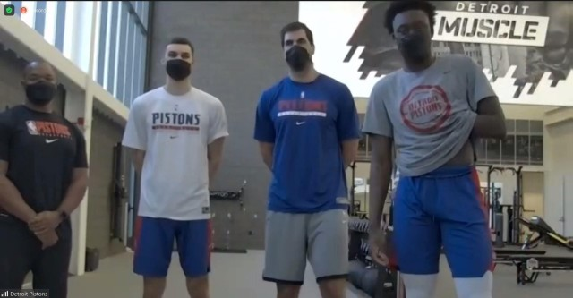 Detroit Pistons players and trainers get ready to workout with Detroit Arsenal Soldiers, Army recruiters and Future Soldiers on Saturday, February 27, 2021.