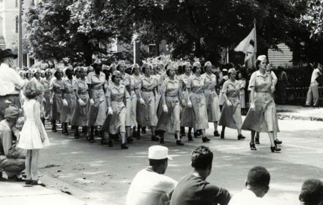 A company of Women's Army Corps members march in formation down Sycamore Street in Petersburg, Va., in the summer of 1951. The historic and continued contributions of women in America will be recognized during Fort Lee's annual Women's History Month observance set for March 18. The program will feature Tracy Bradford, director of the Army Women's Museum, as its guest speaker. The event will be livestreamed at www.facebook.com/USAALU. (U.S. Army Photo)