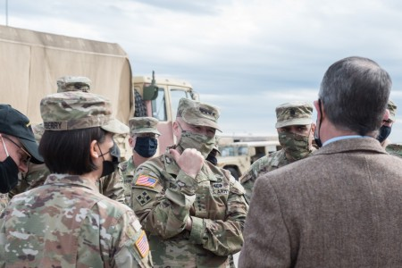 Gen. Ed Daly, Commanding General, Army Materiel Command, and AMC's Command Sgt. Maj. Alberto Delgado speak with Ft. Hood sustainers at the new Modernization Displacement and Repair Site Nov. 2. Future Army operations will depend on modernized materiel readiness initiatives, and the MDRS will be counted on to help in that process.