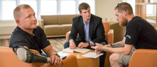 Sgt. Garrett Anderson (left) relaxes inside the Chez Veterans Center at the University of Illinois at Urbana-Champaign. (Photo courtesy of Garrett Anderson)