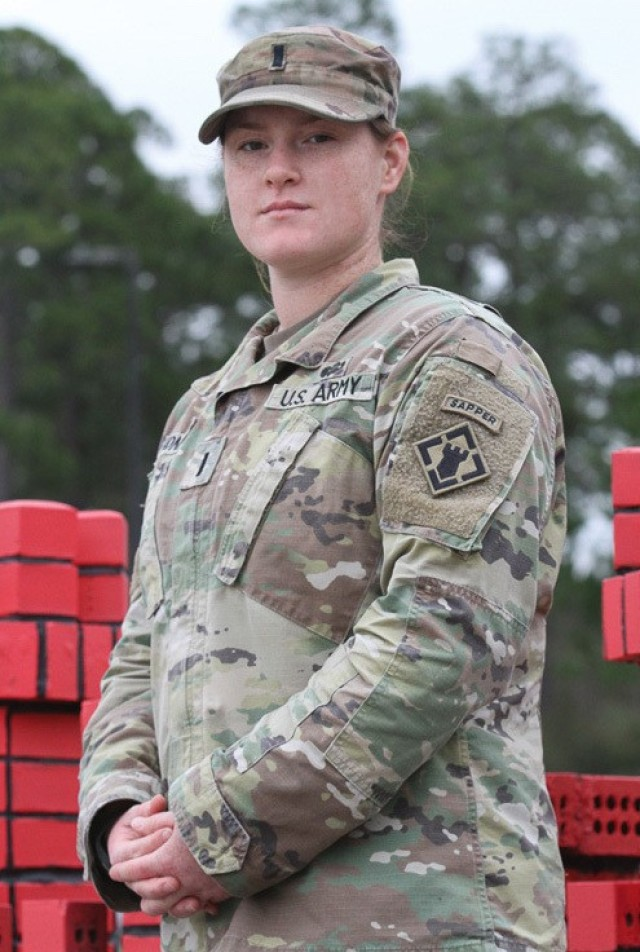 "U.S. Army 1st Lt. Madison Jones, an engineer officer assigned to the 92nd Engineer Battalion, 526th Engineer Construction Company, at Fort Stewart, Georgia, was raised mainly overseas, but considers herself a native of Charleston, South Carolina. She graduated from Riverside High School in Greer, South Carolina, in 2014. She earned a bachelor's degree in systems engineering from The United States Military Academy in Westpoint, New York, in 2018. ""I saw my father serve in the Marine Corps for over 20 years and the desire to help others felt deeply rooted within me. As a competitive swimmer, Westpoint and the Army sought me and it felt like a natural fit. As a woman in the military, the job is hard. It's full of opportunities to stand in the gap of gender-related issues. It's hard, but the good and the hard tend to go hand-in-hand. The good is seeing the moments of victory, like when a plan comes together and the systems in place work like they're intended."" (U.S. Army photo by Spc. Daniel Thompson)"