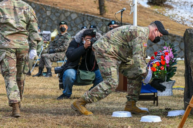 The Eighth Army Deputy Commanding General - Operations Brig. Gen. Trevor J. Bredenkamp lays a wreath during the 70th anniversary of the Battle of Hill 180 Feb. 5 at Osan Air Base. 