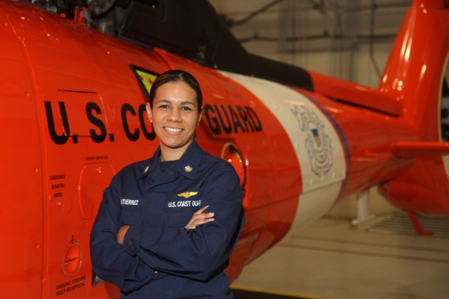"U.S. Coast Guard Petty Officer 2nd Class Jacqueline Gutierrez, an aviation electrician technician assigned to Coast Guard Air Station Savannah on Hunter Army Airfield, Georgia, is a native of Fort Belvoir, Virginia. She graduated from Brooke Point High School in 2004. She earned her bachelor's degree in small business and entrepreneurship from Devry University. ""I joined the military to start my life. I was ready to see what's out there. I love the people I work with, and I'm proud of the job we do. It's really eye opening to look around the hangar and to feel successful."" (U.S. Army photo by Spc. Daniel Thompson)"