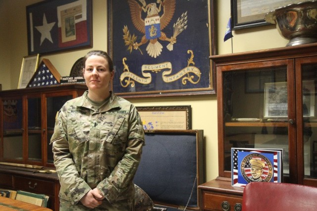 "U.S. Army 1st Lt. Amber Withrow is an infantry officer assigned to the 3rd Battalion, 15th Infantry Regiment, 2nd Armored Brigade Combat Team, 3rd Infantry Division, at Fort Stewart, Georgia. She has served as a platoon leader for a Bradley Fighting Vehicle platoon and is currently serving as an assistant S3. Withrow, a Corona, California native, graduated from Corona High School in 2012. She earned a bachelor's degree in legal studies at The United States Military Academy in 2018. Withrow is currently working to get her master's degree in forensic psychology from Arizona State University. ""I originally enlisted to go to college, but I stayed because I enjoyed it. I decided to become an officer because I wanted to improve the lives and experiences of my fellow Soldiers. I was fortunate to have great leaders and I wanted to be that for my peers."" (U.S. Army photo by Spc. Daniel Thompson)"