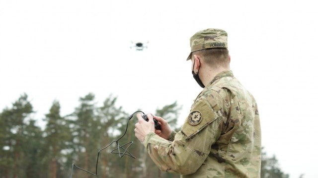 U.S. Army Pfc. Alec Hoffman, assigned to the 2d Squadron, 2d Cavalry Regiment, learns to fly the unmanned aerial vehicle, LiveSky LSP-6205 Craft, at Vilseck, Germany, February 17, 2021. This new UAV, fielded to the regiment this year, increases communication capabilities and improves security for units. (U.S. Army photo by Maj. John Ambelang)
