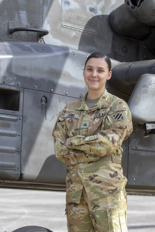 "U.S. Army Sgt. Janine Lowe, an AH-64 helicopter repairer assigned to 3rd Squadron, 17th Cavalry Regiment, 3rd Combat Aviation Brigade, on Hunter Army Airfield, Georgia, is a native of Lanzendorf, Germany. She went to Pasco-Hernando State College, maintained a 4.0 GPA, and enlisted in the Army in 2017.  ""I've always wanted to have a career where I can control my own progression and directly impact my success. The Army has provided me with that opportunity. As a female working in a predominantly male field, the Army can be lonely. However, the Army is making great efforts to close the gap and there are a lot of like minded females here that strongly support each other."" (U.S. Army photo by Spc. Savannah Roy)"