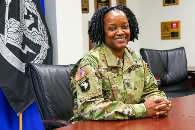 "U.S. Army Sgt. Maj. Tiny A. Jones, a career counselor assigned to the 3rd Infantry Division at Fort Stewart, Georgia, is a native of Henderson, North Carolina. She  entered the Army in 1994 as a petroleum supply specialist. Jones holds a general studies associate's degree from Central Texas College, a bachelor's of science degree in business from Baker College, and a master's of education leader and administration from Trident University International. ""I joined the Army because I wanted to establish a living for my 13-month-old son and I. It's challenging being a female in the military, but I haven't allowed the obstacles to stop me. Overcoming adversity keeps my spirits strong. Practicing my faith reminds me that I'm never alone in the fight because I always have God."" (U.S. Army photo by Spc. Daniel Thompson)"