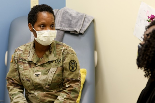 "U.S. Army Col. Nia Robinson Middleton, M.D. is the Deputy Commander for Clinical Services at Winn Army Community Hospital at Fort Stewart, Georgia. As a Tulane University graduate, Middleton has been interested in women's health since childhood and became an obstetrician-gynecologist. ""I love taking care of service members and their families. It definitely is a special group of people. I deal with deployments or training exercises that take service members away from their families. In some ways, I am like their extended family and support system. I'm very thankful for the opportunity to help take care of Soldiers and their Families."" (Photos by Zach Rehnstrom)"
