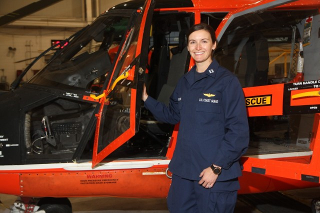 "U.S. Coast Guard Lt. Christina Batchelder, a pilot assigned to the Coast Guard Air Station Savannah at Hunter Army Airfield, Georgia, is native to Scarborough, Maine. She graduated from Scarborough High School in 2011. In 2015, she earned her bachelor's degree in operation research and computer analysis from the Coast Guard Academy. ""I joined the Coast Guard for the adventure. I love flying helicopters, doing search and rescue missions, and executing humanitarian efforts. It's empowering and I want others to feel like they can achieve anything with hard work and perseverance."" (U.S. Army photo by Spc. Daniel Thompson)"