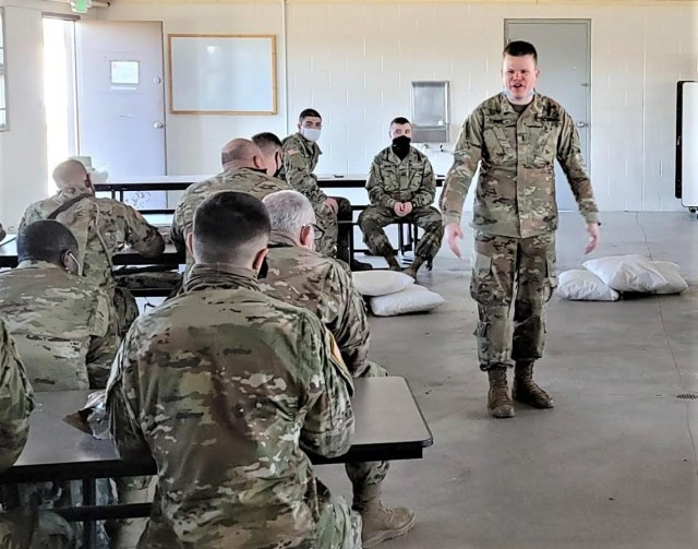 1st Lt. Jonathan Fife, Ohio Army Reserve 961st Engineer Company, instructs Soldiers on Emergent Threat, Training and Readiness Capability in preperation for Joint Readiness Training Center Rotation 21-06.
