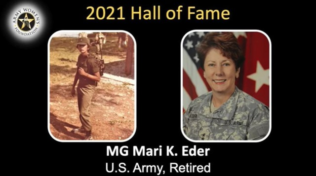 Retired Maj. Gen. Mari K. Eder, who became the first to lead the Army Reserve's Joint and Special Troops Support Command, as well as be the first full-time deputy chief of the Army Reserve and the first full-time deputy chief of Army Public Affairs, was one of the inductees into the Army Women's Foundation's hall of fame during a virtual ceremony March 8, 2021.