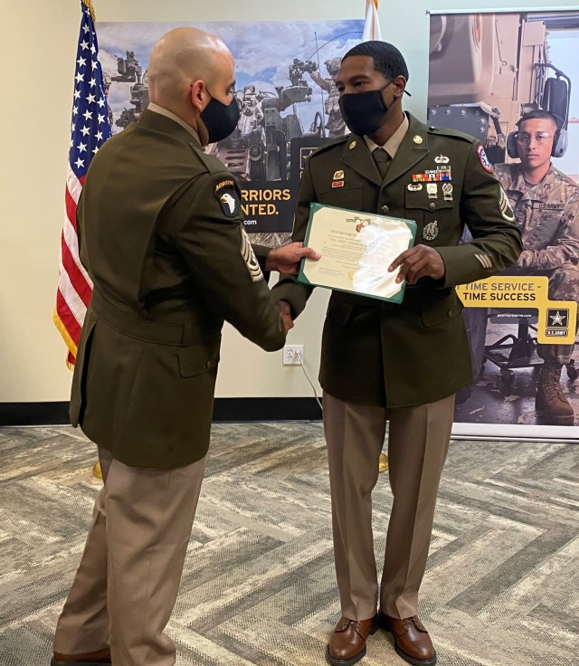 Staff Sgt. Dasean Person was inducted into the Sergeant Audie Murphy Club March 2.