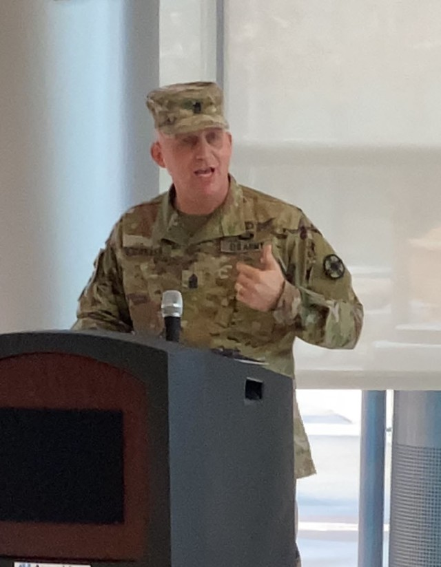 13th Expeditionary Sustainment Command senior enlisted advisor Command Sgt. Maj. Todd Garner, challenges Soldiers to maximize professional development opportunities  during the 134th Army Medical Department Enlisted Corps' anniversary celebration at Carl R. Darnall Army Medical Center