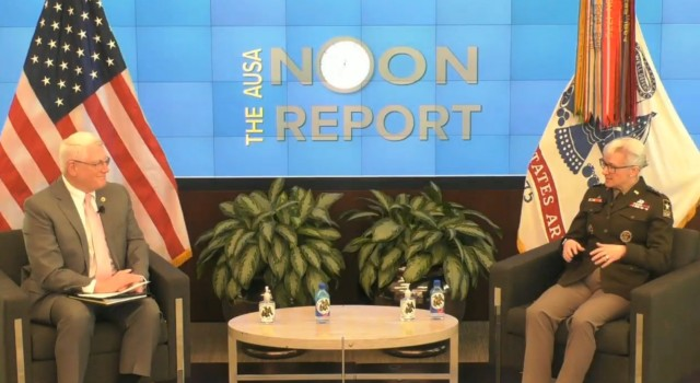 Lt. Gen. Laura Potter, Army deputy chief of staff, G-2, discusses force structure and readiness with retired Gen. Carter Ham during an Association of the U.S. Army Noon Report on March 10, 2021.