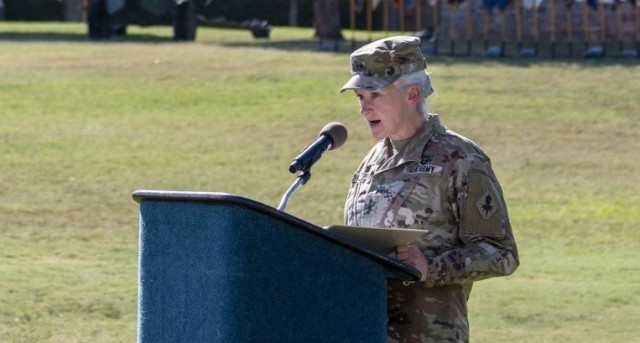 Then-Maj. Gen. Laura A. Potter speaks during the U.S. Army Intelligence Center of Excellence change-of-command ceremony at Fort Huachuca, Ariz., Aug. 11, 2020. Potter, now a lieutenant general and the deputy chief of staff, G-2, outlined Army intelligence's new priorities during an Association of the U.S. Army's Noon Report on March 10, 2021.