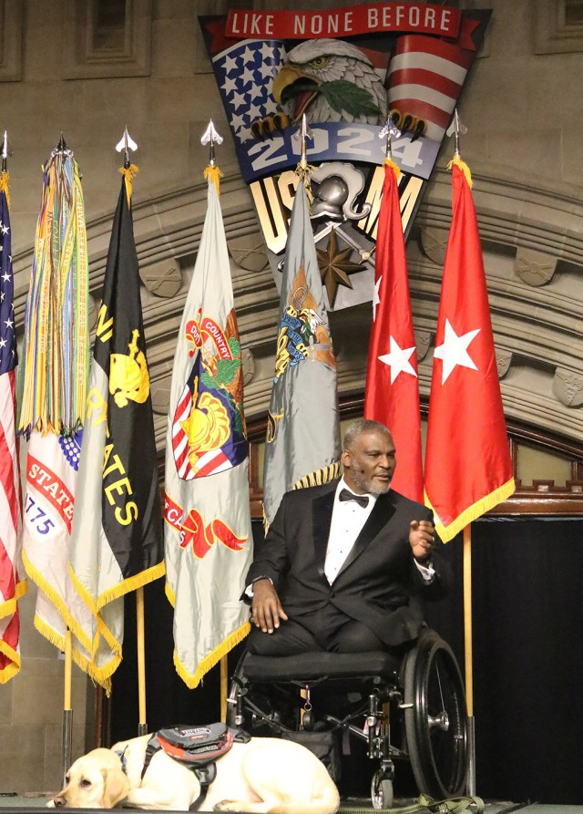 The U.S. Military Academy Class of 2024 achieved its first academic year milestone by celebrating Plebe Weekend March 5-6 at West Point. The festivities kicked off with the Plebe Banquet March 5 at the Cadet Mess Hall. (Above) Guest speaker for the evening, retired Col. Gregory Gadson, talks to the audience during the plebe banquet about his Army experience and the importance of the Long Gray Line in his life after sustaining life-threatening injuries in Iraq in 2007.