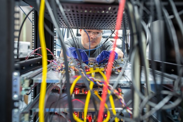 Army-funded research sends entangled qubit states through a communication cable linking one quantum network node to a second node. This research could help lay new groundwork for future quantum communication networks and large scale quantum computers.