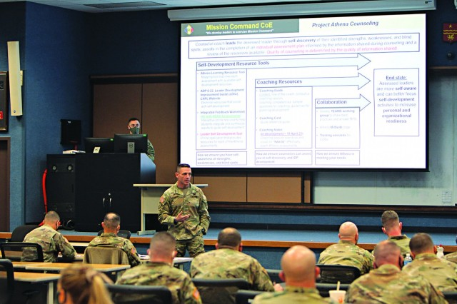 Brig. Gen. Charles Masaracchia, Mission Command Center of Excellence director, speaks to Fort Sill leaders about Project Athena, a new leader development program. The general spoke to company grade officers in the Basic Officer Leader and Captains Career courses and their instructors Feb. 24, 2021, at Snow Hall.