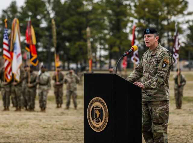 Major General Joseph P. McGee, incoming commanding general, 101st Airborne Division (Air Assault) and Fort Campbell, addresses Soldiers and Families during the division change of command March 5.