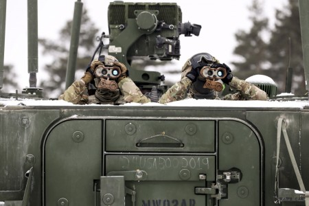 Soldiers keep watch on targets during a joint combat live-fire event using the Gepard air defense system at Bemowo Piskie Training Area, Poland, Feb. 2, 2021.