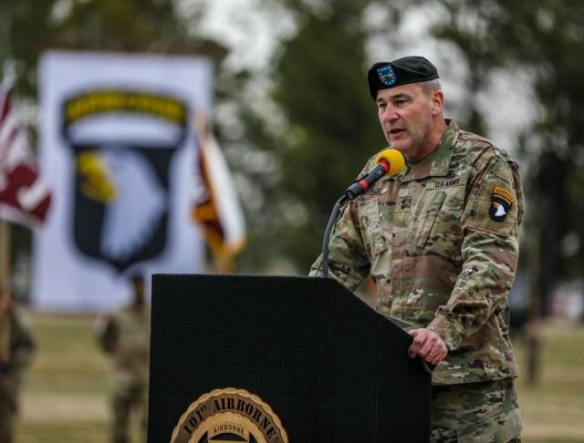 Major General Brian E. Winski, outgoing commanding general, 101st Airborne Division (Air Assault) and Fort Campbell, delivers remarks March 5 during the division change of command at division parade field.