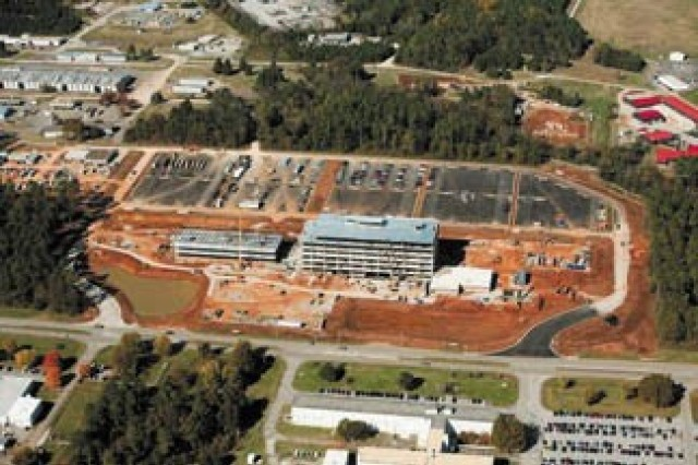 This 2013 photo shows the construction of Army Materiel Command headquarters at Redstone Arsenal. The Army's Facilities Investment Plan, developed by Army Materiel Command, compiles current facility requirements, prioritizes those requirements and then provides a plan for how the Army should use limited construction and renovation resources to fulfill requirements. With such a plan in place, the Army, Department of Defense and Congress have better oversight over future construction projects that support Army priorities.