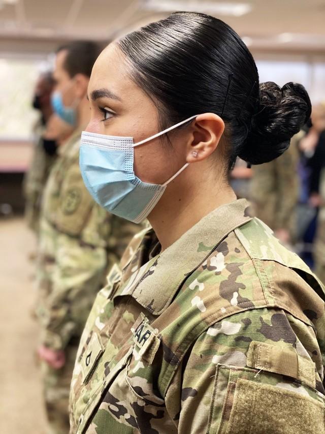 Pfc. Elizabeth Mantlo,  graduated as a medical laboratory technician Mach 4 at a ceremony held at Fort Polk's Bayne-Jones Army Community Hospital.