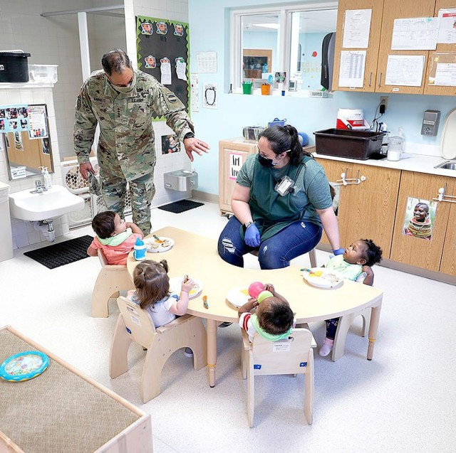 Gen. Michael X. Garrett, commanding general, U.S. Army Forces Command, visits one of Fort Polk's child development centers. Garrett visited the Joint Readiness Training Center and Fort Polk to observe quality of life issues. In addition to the CDC, he also took a tour of Parkway Elementary and observed housing damaged by hurricanes Laura and Delta late last summer and early fall.
