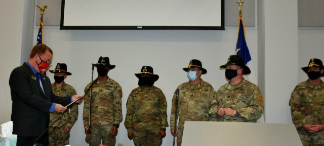 Troopers from Blacksmith Troop, Regimental Support Squadron, 3rd Cavalry Regiment were formally recognized on March 9 by the City of Harker Heights for providing water buffalo support during the winter storm that hit Texas in February. (U.S. Army photo by Maj. Marion Jo Nederhoed)