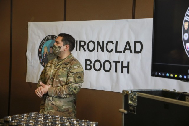 Maj. Raul Martinez, Jr., Executive Officer, 24th Theater Public Affairs Support Element, welcomes participants to the inaugural Ironclad Summit March 11. Fort Bliss hosted the Ironclad Summit to better strengthen the foundation for mutual respect, safety and cohesive teams among its Soldiers, Civilians, and Families. Operation Ironclad is the action-based approach of Fort Bliss toward eliminating sexual assault and sexual harassment, suicide, and extremism and racism in the ranks. For Bernabe, the summit and its related initiatives are crucial in spreading the word that Fort Bliss is a non-permissive environment when dealing with such unacceptable behaviors. The top priority for Fort Bliss leaders is creating an environment non-permissive of these destructive behaviors.  (U.S. Army photo by Staff Sgt. Nicholas Brown-Bell)