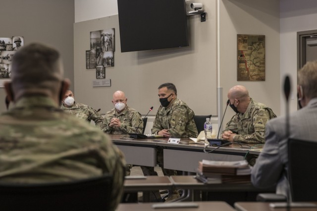 Fort Bliss Leaders met with local law enforcement agencies under a new initiative called OPERATION IRONCLAD, Feb. 23. Maj. Gen. Sean C. Bernabe, Commanding General, 1st Armored Division and Fort Bliss (center), along with Command Sgt. Maj. Michael C. Williams, 1st Armored Division and Fort Bliss (right) and Col. Stuart M. James, Commander, U.S. Army Garrison Fort Bliss, met with local leaders in an effort to build a stronger relationship and address extremist activities within our installation and community. OPERATION IRONCLAD is an initiative to address the three corrosives that degrade readiness, resiliency, and cohesive teams. (U.S. Army photo by Staff Sgt. Nicholas Brown-Bell)