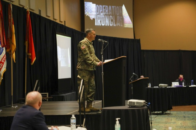 Maj. Gen. Sean Bernabe, senior commander, 1st Armored Division and Fort Bliss, addresses leadership from across the installation at the inaugural Ironclad Summit. Fort Bliss hosted the Ironclad Summit to better strengthen the foundation for mutual respect, safety and cohesive teams among its Soldiers, Civilians, and Families. Operation Ironclad is the action-based approach of Fort Bliss toward eliminating sexual assault and sexual harassment, suicide, and extremism and racism in the ranks. For Bernabe, the summit and its related initiatives are crucial in spreading the word that Fort Bliss is a non-permissive environment when dealing with such unacceptable behaviors. The top priority for Fort Bliss leaders is creating an environment non-permissive of these destructive behaviors.  (U.S. Army photo by Staff Sgt. Nicholas Brown-Bell)