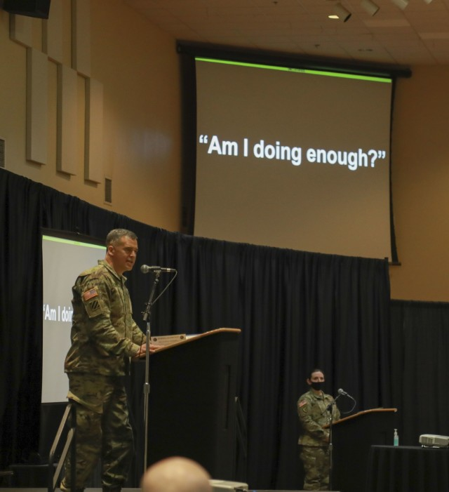 Maj. Gen. Sean Bernabe, senior commander, 1st Armored Division and Fort Bliss, asks those assembled at the inaugural Ironclad Summit if they are doing enough to care for victims of sexual assault and sexual harassment March 11. Bernabe stated that the number of sexual assault cases on the installation is unacceptable and that we must do more to prevent these actions and support our Soldiers. Fort Bliss hosted the Ironclad Summit to better strengthen the foundation for mutual respect, safety and cohesive teams among its Soldiers, Civilians, and Families. Operation Ironclad is the action-based approach of Fort Bliss toward eliminating sexual assault and sexual harassment, suicide, and extremism and racism in the ranks. For Bernabe, the summit and its related initiatives are crucial in spreading the word that Fort Bliss is a non-permissive environment when dealing with such unacceptable behaviors. The top priority for Fort Bliss leaders is creating an environment non-permissive of these destructive behaviors.  (