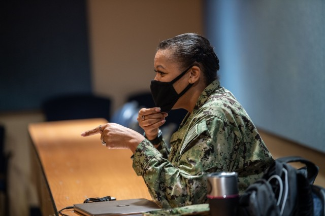 Lt. Cmdr. Davida Billingsley comments during the discussion portion of the extremism stand-down at the Navy Operational Support Center Columbia March 7.