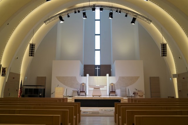 The interior layout and stage of the Netzaberg Chapel, March 11, 2021.