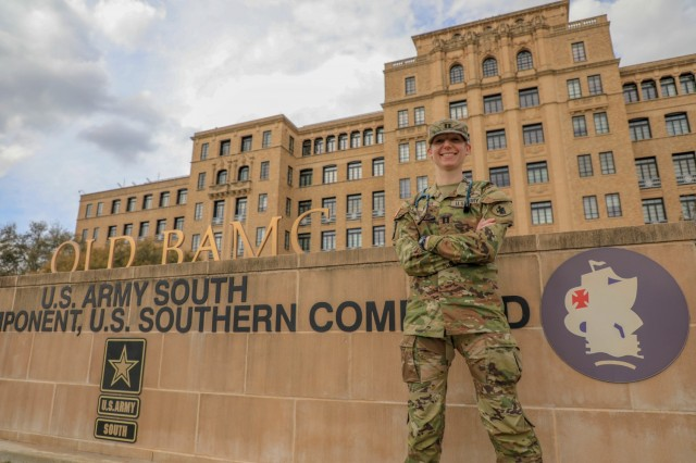U.S. Army Capt. Heather A. Meier, physician assistant at U.S. Army South Headquarters and Headquarters Battalion, stands in front of U.S. Army South Headquarters on Joint Base San Antonio – Fort Sam Houston, Texas, March 8, 2021. Meier's military career was highlighted for Women's History Month. (U.S. Army photo by Pfc. Joshua Taeckens)