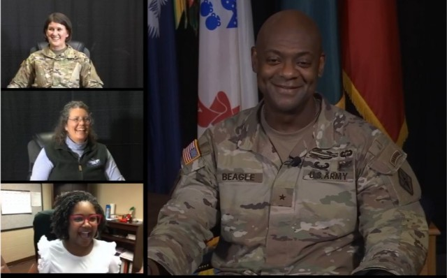 Fort Jackson Commander Brig. Gen. Milford H. Beagle, Jr. hosted the 31st Bi-weekly Virtual Town Hall on Special Topics. Top to bottom Moncrief Army Health Clinic Commander Col. Tara Hall, Leslie Ann Sully and LaTrice Langston and from the public affairs office also participated.